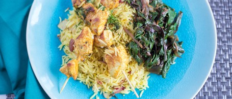 Curry Chicken Kebabs with Barberry Rice, Shallots & Chard
