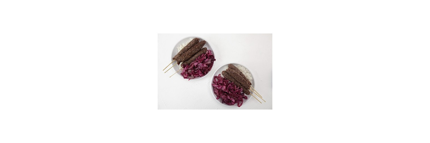 Beef Kebabs with Sautéed Red Cabbage and Thyme Infused Rice