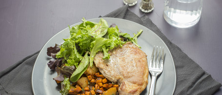 Berkshire Pork Chop with Roasted Sweet Potatoes, Apples & Fresh Greens