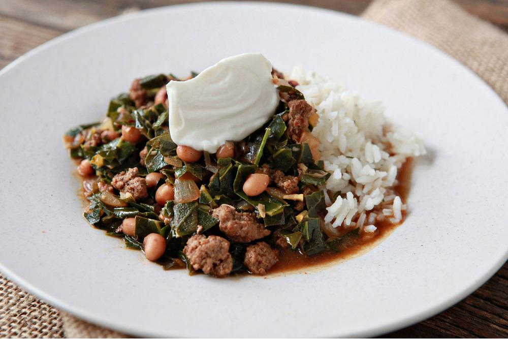 New Year's Beef Chili with Black Eyed Peas & Collard Greens