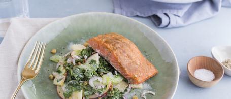 Mustard-Glazed Alaskan Sockeye Salmon with Blue Cheese, Walnut & Apple-Kale Slaw