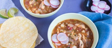 Chicken Pozole with Corn Tortillas, Radish & Lime