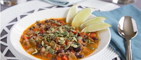 Tex-Mex Black Bean & Blue Corn Tortilla Soup