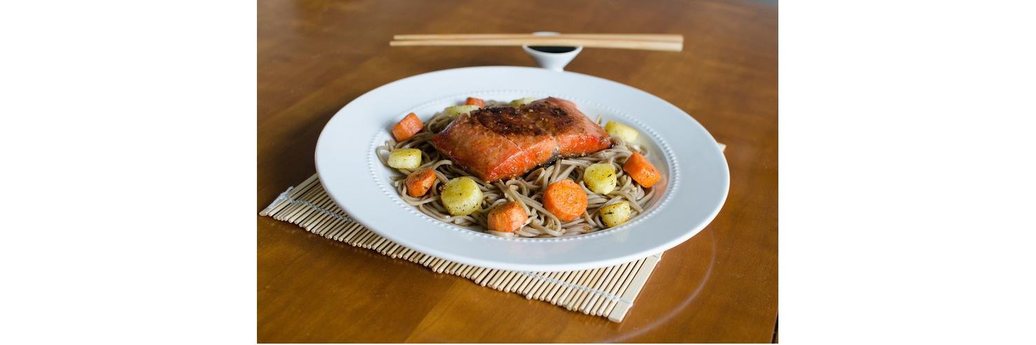 Teriyaki Salmon with Roasted Carrots & Parsnips, Lo Mein Noodles