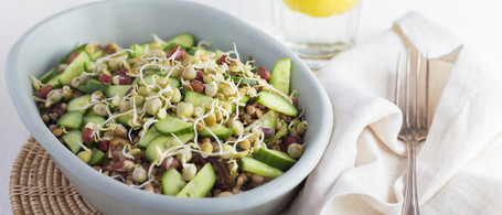 Whole Wheat Cous Cous with Cucumber, Walnuts & Dates