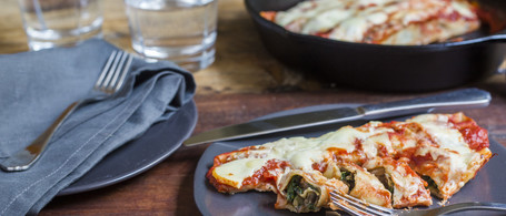 Spinach & Mushroom Cannelloni with Fresh Pasta & Béchamel