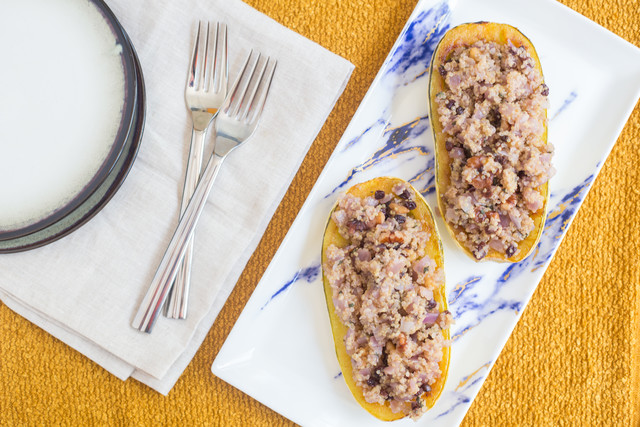 Roasted Delicata Squash with Quinoa and Currants