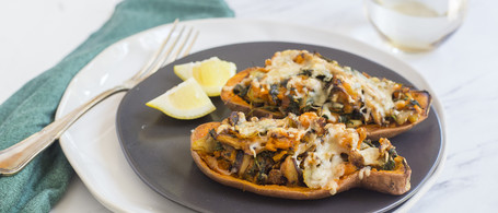 Twice-Baked Sweet Potatoes with Mushrooms, Kale & Asiago