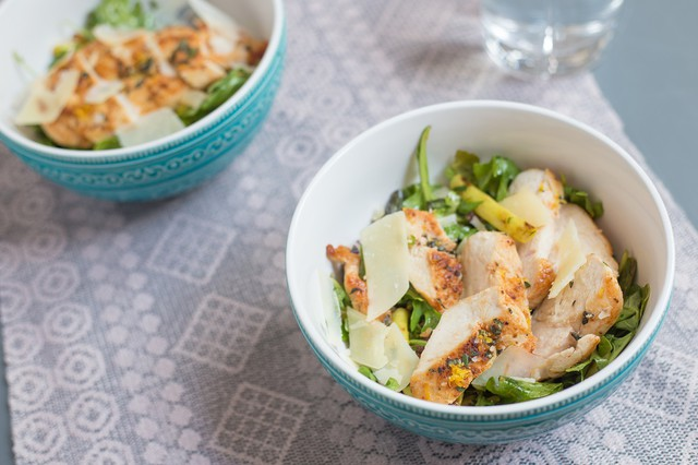Chicken with Snap Bean, Olive, and Arugula Salad