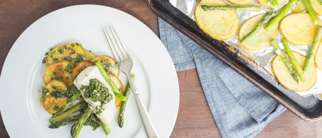 Roasted Cod with Potatoes, Asparagus & Salsa Verde