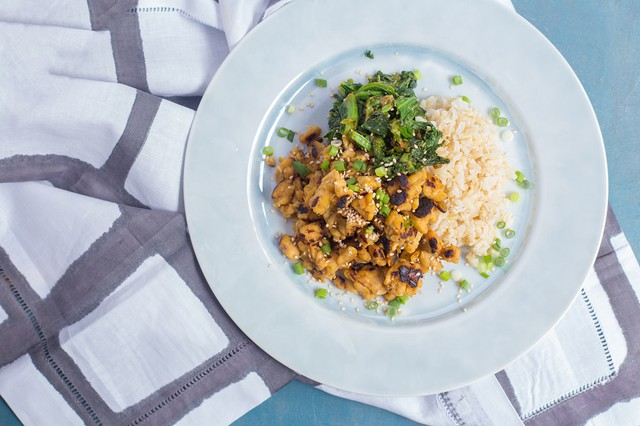 Miso Tempeh with Mustard Greens, Rice, and Benne Seed