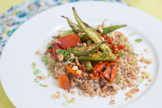 Roasted Okra and Peppers over Farro