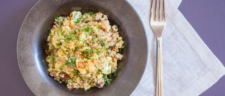 Quinoa with Roasted Cauliflower, Dates & Olives