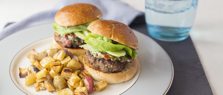 Lamb Sliders with Sun-Dried Tomato Mayo, Cucumber & Roasted Root Vegetables