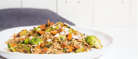 Spiced Brussels Sprouts, Carrots and Brown Rice Spaghetti