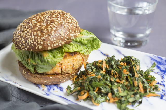 Superfood Grain Burger with Sweet Potato greens