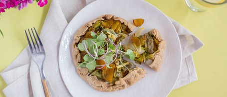 Spring Onion Galette with Golden Beets, Green Garlic & Goat Cheese