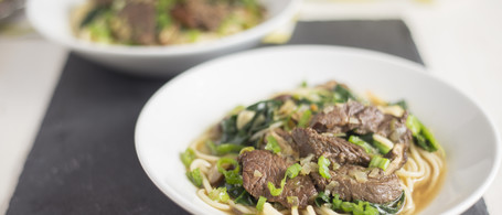 Beef Noodle Bowl with Dried Shiitake & Green Onion