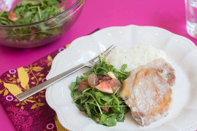 Pork Chops and Grits with Arugula, Fig, & Muscadine
