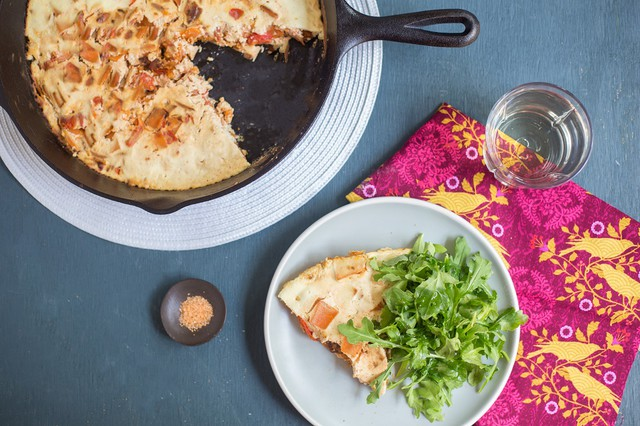 Silken Sweet Potato Frittata with Arugula Salad