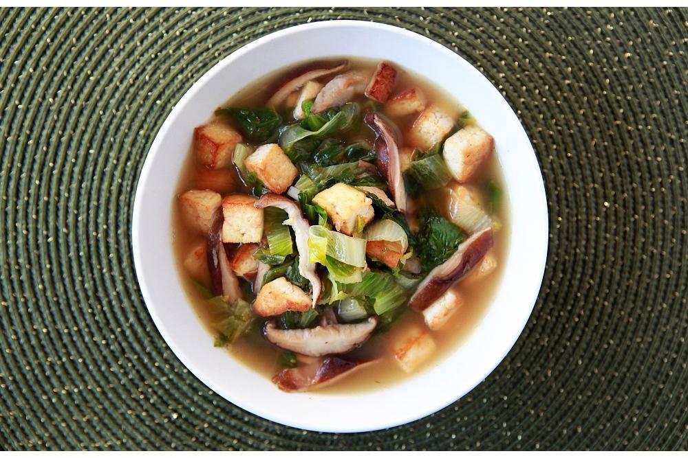 Tofu, Escarole, Shiitake Mushrooms and Garlic in a Savory Red Pepper- Lemon Broth