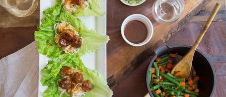 Pork Meatballs & Rice Noodles in Lettuce Cups with Green Bean & Carrots