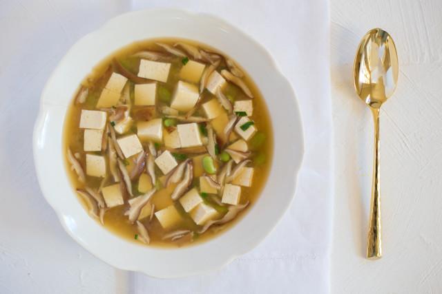 Miso Soup with Shiitake, Tofu & Edamame