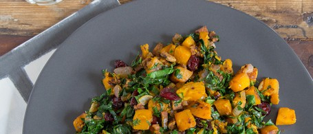 Sweet & Tangy Butternut-Tempeh Hash with Greens