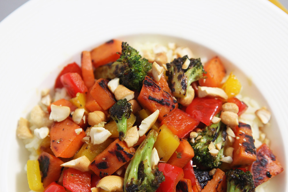 Pan Roasted Broccoli and Sweet Potatoes with Sweet Peppers, Cashews, Blood Orange and Basmati Rice