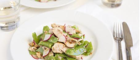 Chicken Breast & Snow Pea Salad with Walnuts & Radish