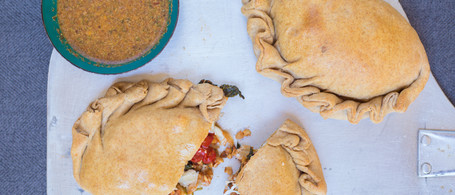 SuperFood Veggie Calzone with Spiced Dipping Sauce