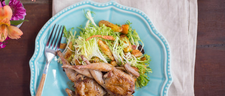 Sorghum Glazed Quail with Roasted Root Vegetable and Frisee Salad