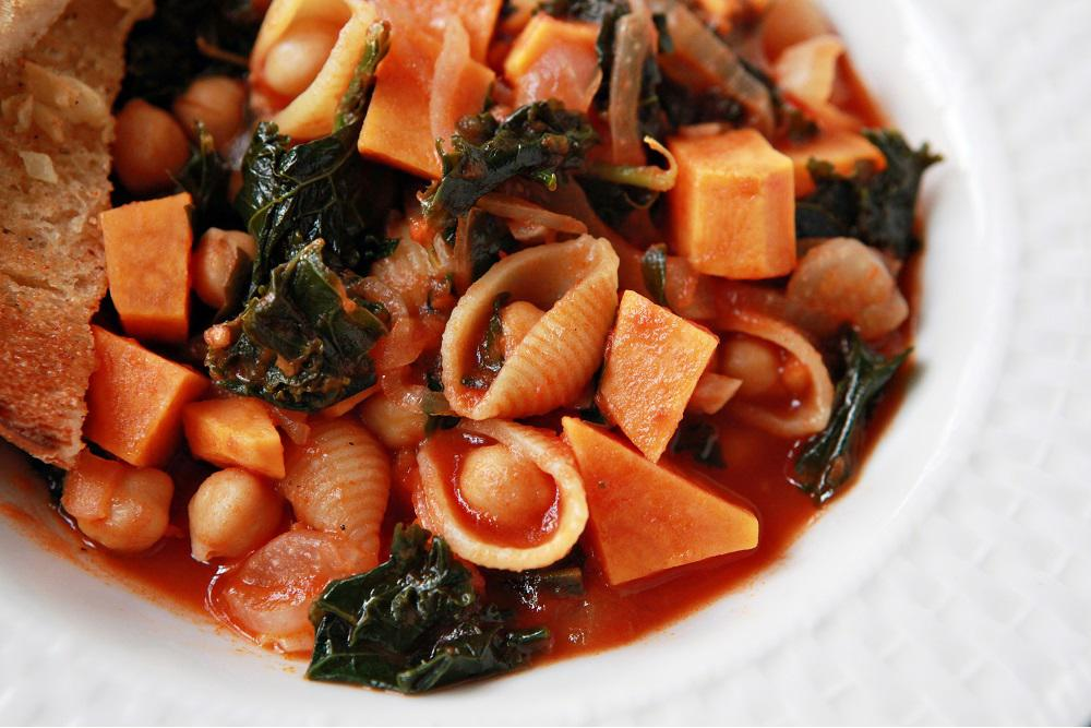 Sweet Potato, Kale, Chickpea & Shell Pasta Soup with Garlic Butter Toast