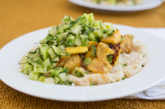 Sauteed Summer Squash and Grits with Spicy Green Tomato Salsa