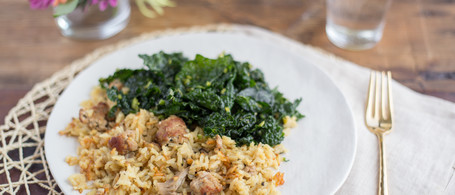 Pastured Pork & Creamed Rice with Kale-Sorghum Salad