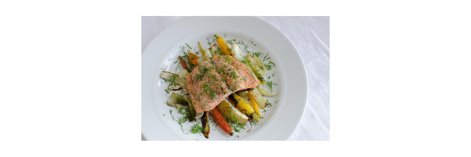 Pan-Seared Salmon with Dill, Oven-Roasted Rainbow Carrots & Fennel