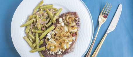 Georgia Grown Ribeye Steaks with Bacon, Blue Cheese & Snap Beans