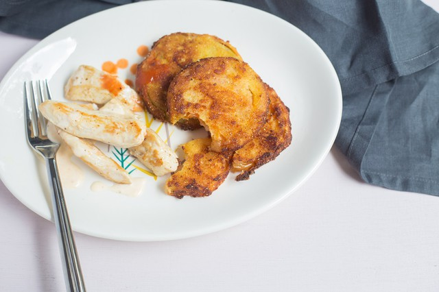 Seared Chicken with White Barbecue Sauce and Fried Green Tomatoes