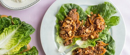 Beef Lettuce Wraps with Crunchy Peanuts & Long-Grain Rice
