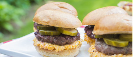 Grass-fed Burgers with Pimento Cheese & Pickles