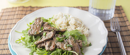 Steak Salad with Mint, Lime & Cilantro Rice
