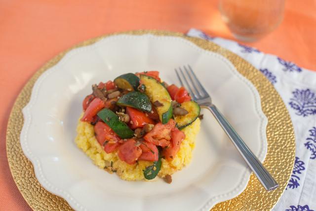Zucchini and Tomato Saute over Polenta