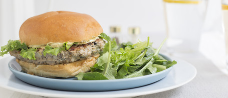 Turkey-Mushroom Burger with Curried Mustard Sauce & Spicy Greens