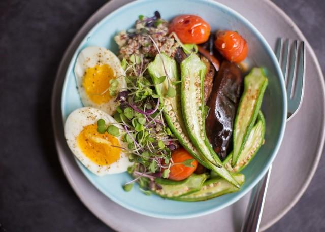 Gingered Eggplant with Farm Egg, Seared Okra, & Quinoa