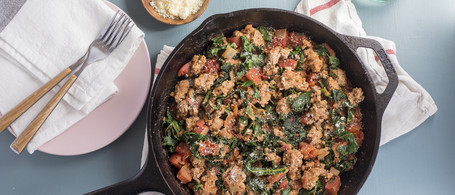 Turkey Parmesan Skillet with Italian-Spiced Tomato & Greens