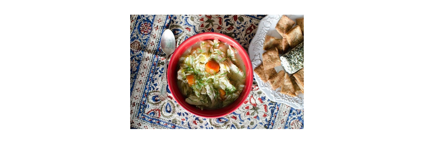 Homemade Pita Chips with Herb Goat Cheese, Lemon-Dill Chicken and Orzo Soup