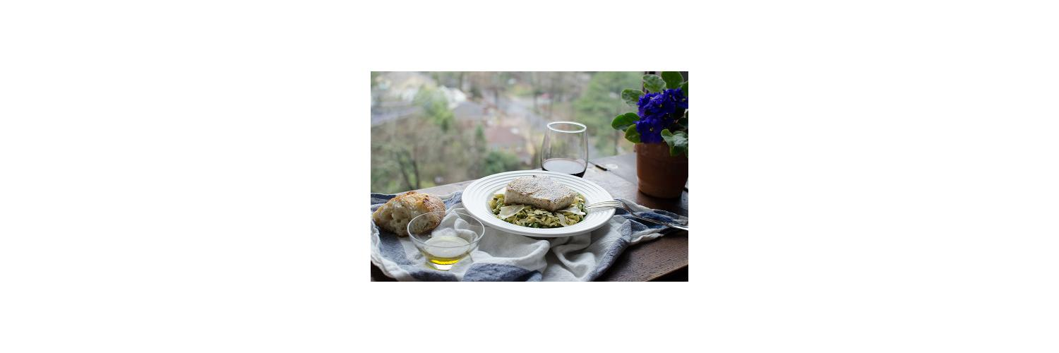 Baguette with Olive Oil Dipping Spices, Pan Roasted Swordfish with Asparagus & Basil Orzo Risotto