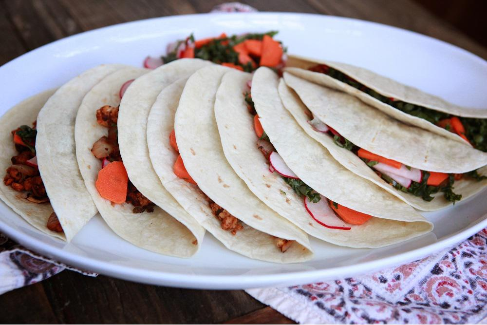 Chipotle-Lime Tempeh Soft Tacos w/ Radish, Carrots, and Kale