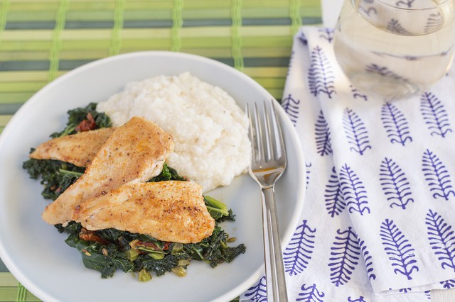 Chicken with Garlicky Kale and Grits