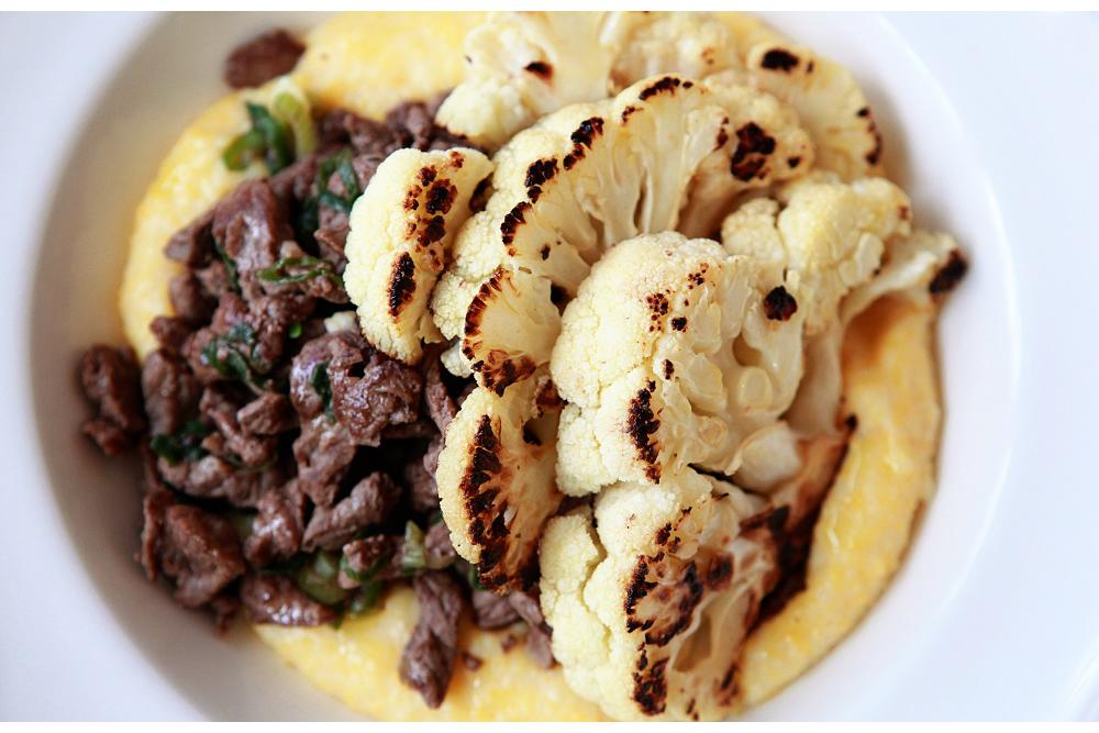 Beef with Sauteed Cauliflower, Grits